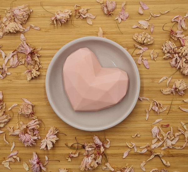 Savon artisanal Cœur Origami rose