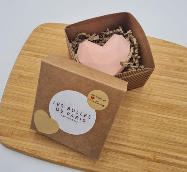 Coffret cœur origami rose