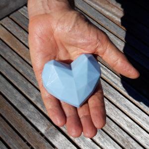Cœur origami bleu savon surgras Les Bulles de Paris