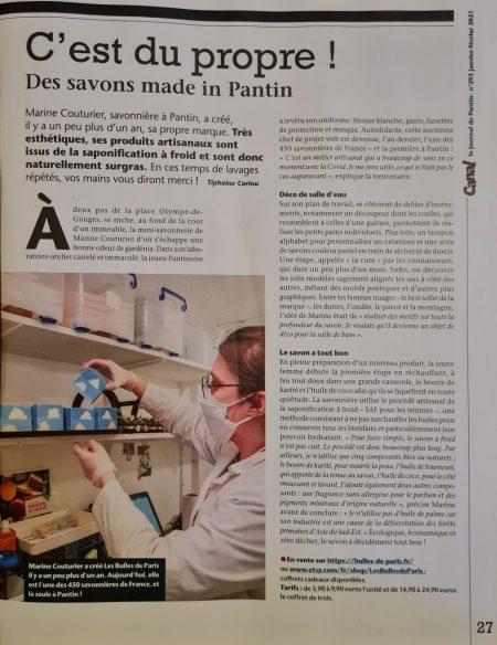 Article de presse sur la savonnerie artisanale de Pantin
